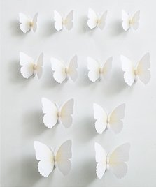 12pc Wall Stickers Butterfly Decal (White)