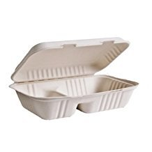 """Eco-Packaging 9"""" x 6"""" x 3"""" Compostable Sugarcane (Bagasse) Clamshell Takeout Food Containers, 2 Compartment, Tree Free, Case of 200"""