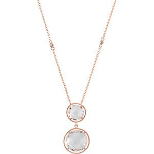 Graduated Clear Quartz Checkerboard Rose Gold Plate Necklace, 17'' by The Men's Jewelry Store