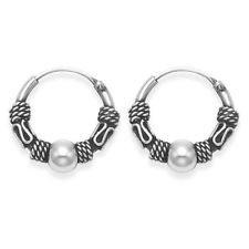 Sterling Silver 10 mm Ball Stud Bali Sleeper Hoop Earrings e0ksCx