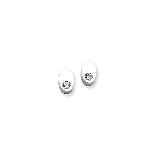Jeweled Oval Hoop - Stainless Steel Cubic Zirconia Cz Oval Post Stud Earrings Ball Button Fashion Jewelry Gifts For Women For Her