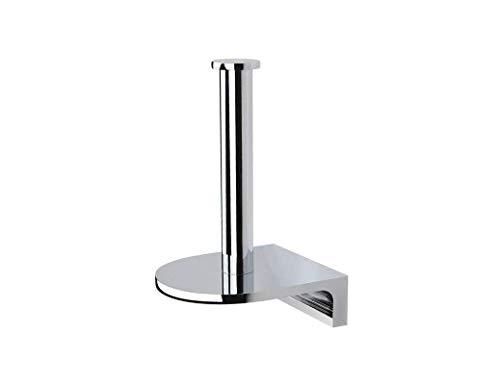 Vertical Toilet Tissue Holder - SANLIV Vertical Single Post Toilet Paper Holder, Spare Hotel Bathroom Tissue Roll Hanger with Flat Plate, Solid Brass in Polished Chrome