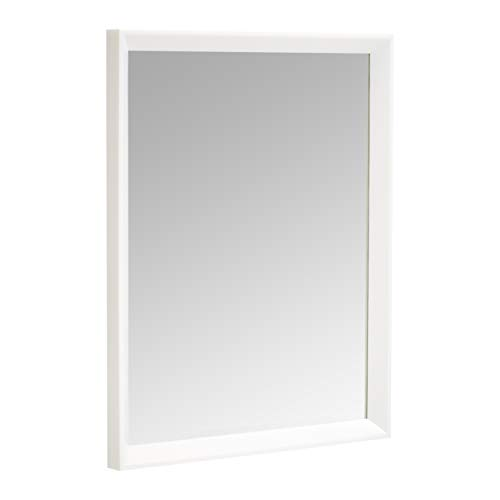 "AmazonBasics Rectangular Wall Mirror 16"" x 20"" - Peaked Trim, White"