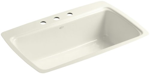 (Kohler K-5864-3-96 Cape Dory Tile-In Kitchen Sink with Three-Hole Faucet Drilling, Biscuit)