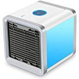 CAYNEL Personal Space Air Conditioner, 4 in 1 Mini USB Personal Space Air Cooler, Humidifier, Purifier, Desktop Cooling Fan with 3 Speeds and 7 Colors LED Night Light for Office Household Outdoors