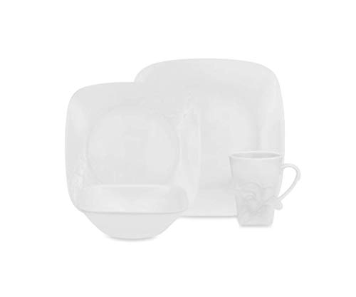 Corelle Boutique Cherish Embossed Square 16-Piece Set White Dinnerware Square Dishes Stackable And Lightweight Dishwasher Freezer Oven And Microwave Safe Made Of Glass And Porcelain Chip Resistant