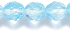 Preciosa Czech Fire 8mm Polished Glass Bead, Faceted Round, Two Tone Aqua/Crystal, 75-Pack -