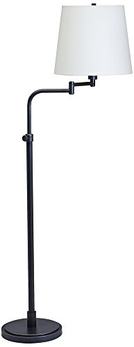 House Of Troy TH700-OB Town House Collection Portable Floor Lamp, Oil Rubbed Bronze with Off-White Linen Hardback Shade