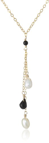 Multi-Drop White Rice Freshwater Cultured Pearl and Black Onyx Teardrop on Gold over Silver Chain Necklace, 16