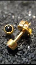 NEW 24 ct. Gold Plated Black Onyx Pearl Personal Piercer 2 mm Ear Piercing Earrings Studex System 75