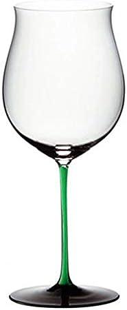 ZKHD Crystal Master Hecho a Mano Corbata Verde Borgoña Vidrio de Vino Burdeos Copa de Vino importada de Austria,1050ml / 37oz Burgundy Cup