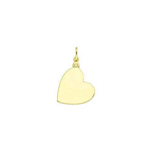 14kt Yellow Gold 1pt Diamond Heart Engravable Disc Pendant