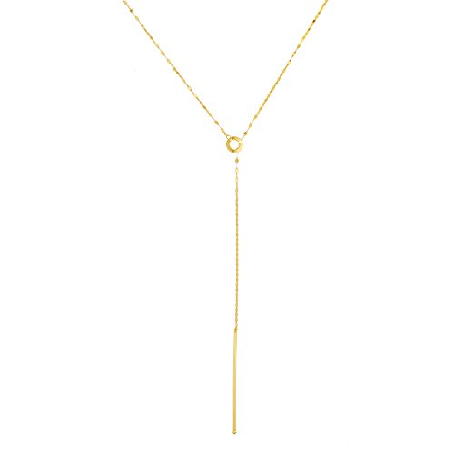 14k Yellow Gold Italian Movable Lariat Bar Necklace, 28
