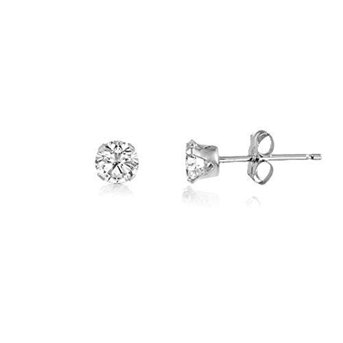 (3MM Classic Brilliant Round Cut CZ Sterling Silver Stud Earrings - WHITE / CLEAR. 3-WHTE)