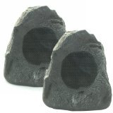 Theater Solutions 2R4L Outdoor Lava Rock 2 Speaker Set for Deck Pool Spa Patio Garden ()