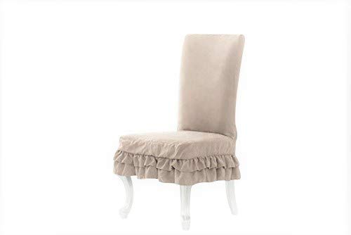 - Octorose ® Bonded Micro Suede Shortly Dining Chair Covers (Khaki)