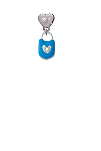 Hot Blue Enamel Lock with Clear Crystals Custom Year Stainless Steel Heart Bead Charm