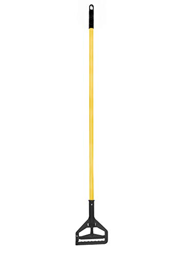Alpine Industries Commercial Quick-Change Iron Mop Handle - Professional Mopping Tube w/Metal Gripper for Rags - Heavy Duty Stick & Mop Head Replacement Holder for Wet & Dry Floor Floor Cleaning