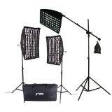 CowboyStudio 2000 Watt Photo Studio Lighting Grid Softbox Video Light Kit Boom Set & Carry Case, VL-9004S-B6-Grid