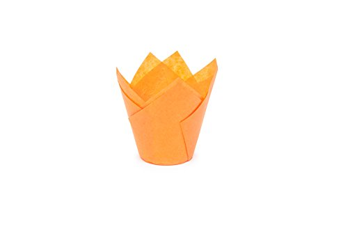 """Tulip Cupcake Liner Paper Baking Cups Easy Release Muffin cup liners / No need To Spray Cup Perfect For Baking Muffins and Cupcakes, Mini ( H 2 -23 / 64"""" x 1 -19 / 64"""" )711035 (50, Orange)"""