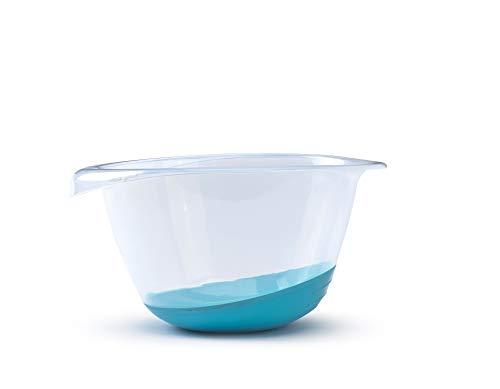 Whitefurze Premium Mixing Bowl with Non-Slip Base and Pouring Lip, 3.5 Liter (3.7 Quart), Clear/Blue