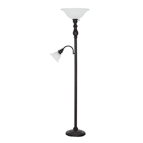 Light Floor Torchiere Lamp - Ravenna Home Torchiere Floor Lamp with Reading Light And LED Light Bulbs - 69.75 Inches, Dark Bronze With Frosted Glass Shade