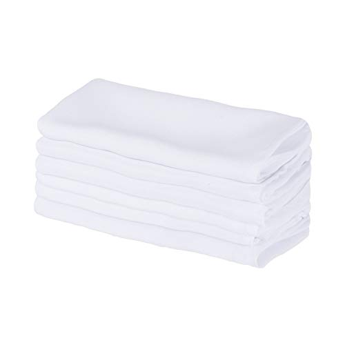 DII Polyester Commercial Quality Heavy Duty Cloth Napkins (18x18-inch) for Restaurant or Home, Set of 6, White (Napkins White Fabric)