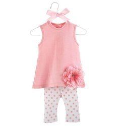 Mud Pie Baby Buds Flower Cotton Tunic and Leggings Set, Pink, 0-6 Months