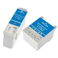 Amsahr 0T007 Remanufactured Replacement Epson Ink Cartridges for Printers/Faxes with 1 Black and 1 Color Cartridges Ink