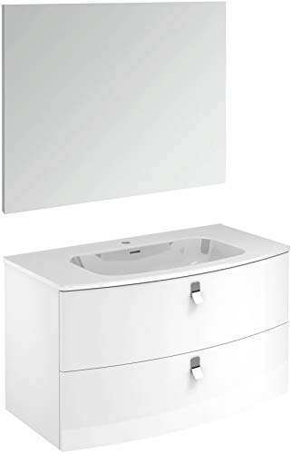 Rondo 100 Pack 1 Gloss White Wall Mounted Bathroom Vanity Unit with Mirror