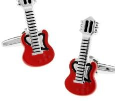 Music Shaped Cufflinks with Cuff Link Display Gift Box (Red Guitar)