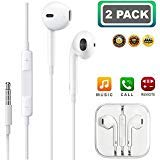 (2 Pack) Aux Headphones/Earphones/Earbuds, 3.5mm Wired Headphones Noise Isolating Earphones with Built-in Microphone & Volume Control Compatible with iPhone iPod iPad Samsung/Android / MP3 MP4