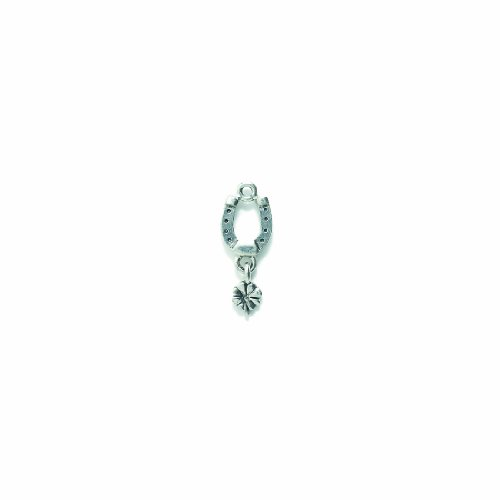 Shipwreck Beads Pewter Horseshoe Charm with 4 Leaf Clover, Silver, 10 by 26mm, 4-Piece
