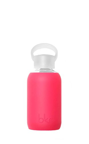 8 Ounce Cherry (bkr - BEST Original Glass Water Bottle - Premium Quality - Soft Silicone Protective Sleeve - BPA Free - Dishwasher Safe (8oz/ 250ml)-Bisous - Sheer Pinkish Cherry)