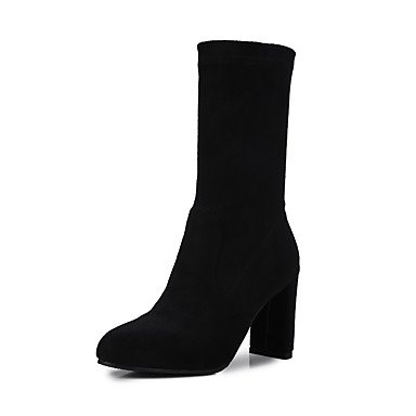 RTRY Women'S Shoes Nubuck Leather Leatherette Fall Winter Fashion Boots Slouch Boots Boots Chunky Heel Round Toe Mid-Calf Boots Split Joint For US6 / EU36 / UK4 / CN36 oSP9j