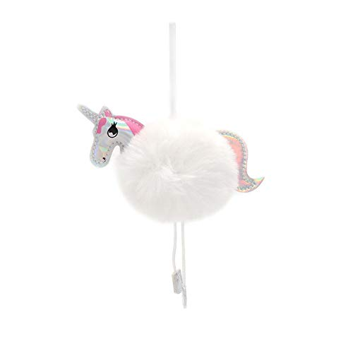 OurWarm 10pcs Unicorn Christmas Ornaments Fluffy Fur Ball Keychain for Christmas Holiday Tree Decorations, White
