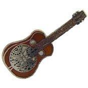 Metal Lapel Pin - Music - Musical Instruments - Strings - Dobro Resonator Guitar -