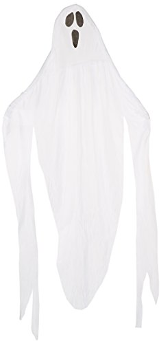 Amscan Creepy Cemetery Halloween Party Giant Ghost Decoration (1 Piece), White, 7' (Hanging Ghost Decorations)
