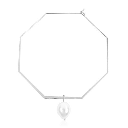 RIAH FASHION Simple Geometric Polygon Lightweight Hoop Earrings - Classic Thin Wire Delicate Threader Dangles Octagon, Pentagon, Crescent Curved Arc, Pearl (Octagon Freshwater Pearl Hoops - Silver)
