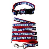 Pets First Chicago Cubs Nylon Collar and Matching Leash for Pets (MLB Official Size Large