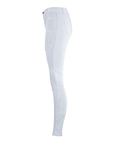 Dchirs Slim Skinny Taille Crayons Stretch Femmes Haute Trous Blanc Jeans Pantalons DianShaoA 6wnqxCYAHC