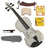 GRACE 1/4 Size White Acoustic Violin with Case and Bow+Rosin+2 Sets Strings+2 Bridges+Tuner+Shoulder Rest