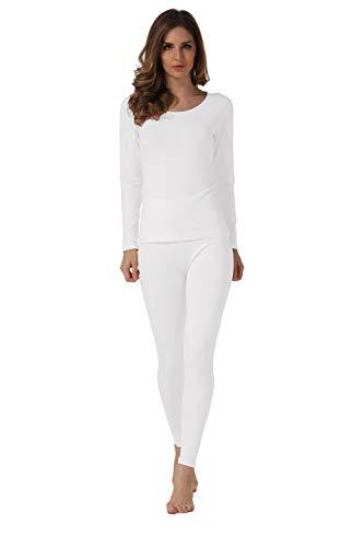 HieasyFit Women's Soft Cotton Thermal Underwear Mid Weight Base Layer Set(White XL