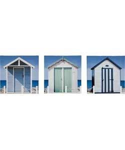 Juego de 3 diseño de casetas de playa lienzo decorativo el mar de flores con fondo