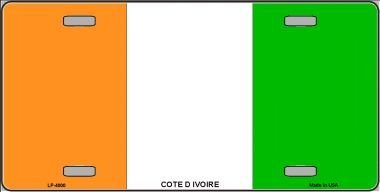 MADE IN THE USA - Ivory Coast Flag License Plate, World Country Flag Aluminum 6