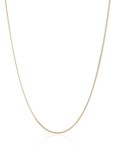 18k Yellow Gold Italian .9mm Diamond-Cut Snake Chain Neck...