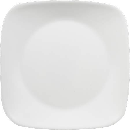 Corelle Square Pure White 9-Inch Plate Set (6-Piece) (Lunch Plate Set of 6) by Corelle