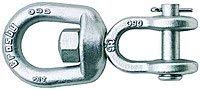 Crosby G-403 3/8-Inch Jaw End Swivel for Rigging and Lifting | 2250-Pound Load Capacity | Forged Steel | Hot Dip Galvanized | Quenched and Tempered | 1016439