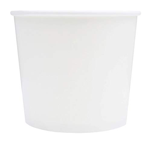 White Paper Ice Cream Cups - 12 oz Disposable Dessert Bowls - Perfect For Your Yummy Foods! Many Colors & Sizes - Frozen Dessert Supplies - 50 Count