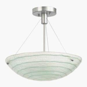 Kalco 5990SN Aqueous 3-Light Semi-Flush, Satin Nickel Finish with Costa Art Glass Shade by North Coast -